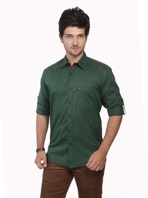 Ecohawk Men's Solid Casual Dark Green Shirt