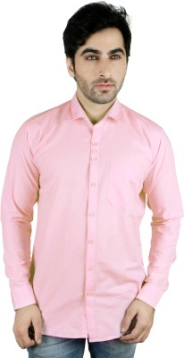 Being Friends Men's Solid Casual Pink Shirt