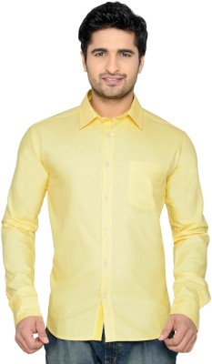 Thinc Men's Solid Casual Yellow Shirt