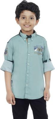 OKS Boys Boy's Striped Casual Green Shirt