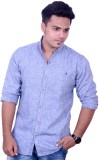 Yomaa Men's Solid Casual Linen Blue Shir...