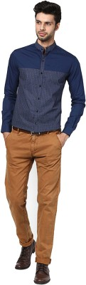 The Design Factory Men's Solid Party Blue Shirt