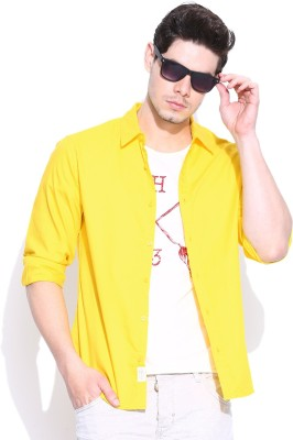 United Colors of Benetton Men's Solid Casual Yellow Shirt