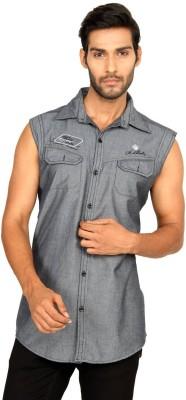 Macoro Men,s Solid Casual Grey Shirt