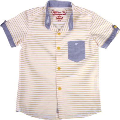 Einstein Boy's Striped Casual Yellow, White Shirt