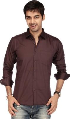 Acropolis Men's Solid Formal Brown Shirt