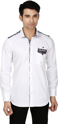 Flakes Fashion Men's Solid Casual White Shirt