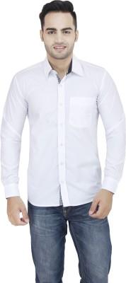 LEAF Men's Solid Formal White, Black Shirt