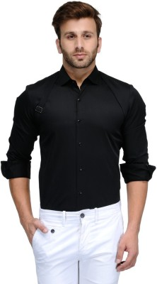 Edjoe Men's Solid Casual, Party Black Shirt
