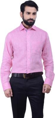 Alpha Centauri Men's Solid Casual Linen Pink Shirt