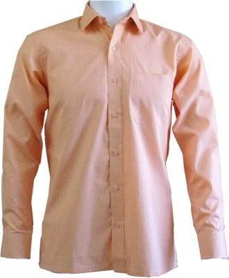 Ardeur Men's Checkered Formal Orange Shirt