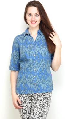 Tops and Tunics Women's Printed Casual Blue Shirt