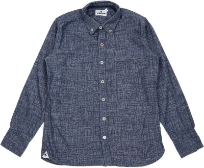 WROGN Boy's Printed Casual Blue Shirt