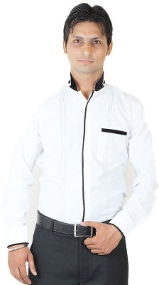SIERA Men's Printed Casual White, Black Shirt