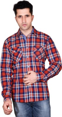 Denimize Men's Checkered Casual Red Shirt