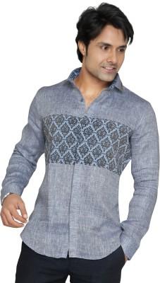 Funky Men's Printed Casual Linen Grey Shirt