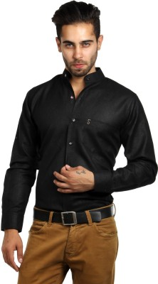 S9 Men's Self Design Festive, Formal, Party, Wedding, Casual Black Shirt
