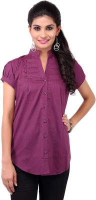 VV Passion Women's Solid Casual Purple Shirt