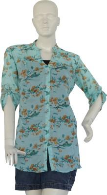 Jupi Women's Floral Print Casual Green, Dark Green, Brown Shirt