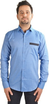 Just Differ Men's Solid Casual Blue, Black Shirt