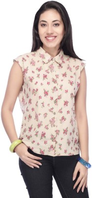 Life by Shoppers Stop Women's Floral Print Casual Beige Shirt