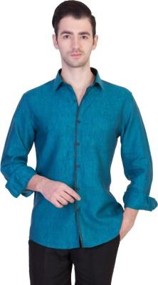 Desam Men's Solid Casual Linen Blue Shirt
