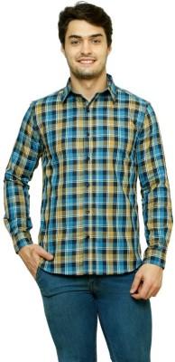 99 Hunts Men's Checkered Casual Blue, Brown Shirt