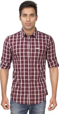 Truccer Basics Men's Checkered Casual Maroon Shirt