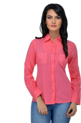 Urban Republic Women's Solid Casual Pink Shirt