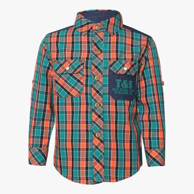 Tales & Stories Boy's Checkered Casual Orange Shirt