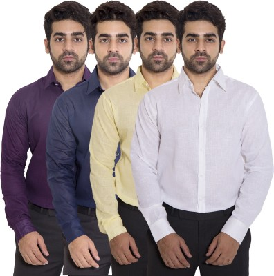 deekshavastra Men's Solid Casual Purple Shirt