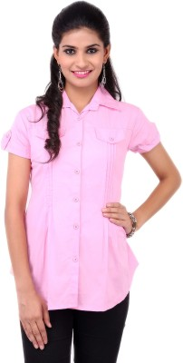 VV Passion Women's Solid Casual Pink Shirt