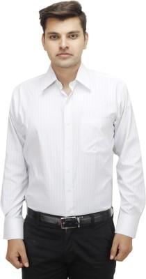 koutons outlaw Men's Striped Formal White Shirt