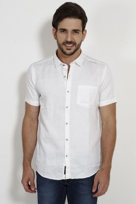 SIN Men's Solid Casual White Shirt
