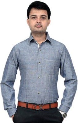 URCHOIXCOLLECTION Men,s Solid Formal Blue Shirt