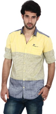 FRD13 Men's Striped Casual Yellow Shirt
