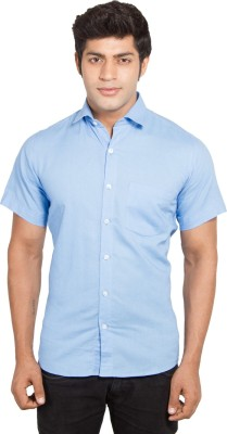 Nauhwar Men's Solid Formal Blue Shirt