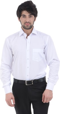 Burdy Men's Solid Formal White Shirt