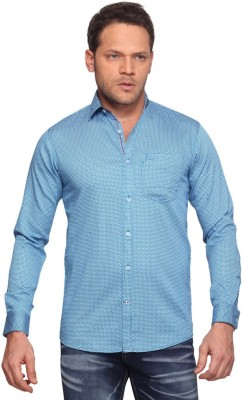 Club Fox Men,s Printed Casual Blue Shirt
