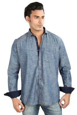 Faceman Men's Solid Casual Blue Shirt