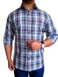 Solen Men's Checkered Casual Blue Shirt