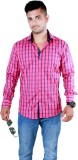 Players King Men's Checkered Casual Pink...