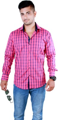 Players King Men's Checkered Casual Pink Shirt