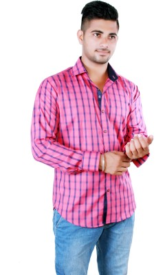 Players King Men's Checkered Casual Reversible Pink Shirt