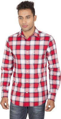SmartCasuals Men's Checkered Casual Red Shirt