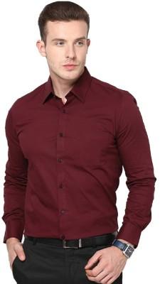 ZOLDY Men's Solid Formal Maroon Shirt