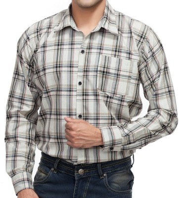 4 Stripes Men's Checkered Casual Beige, Green, Red Shirt