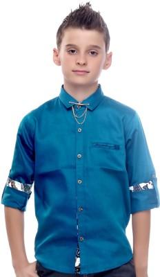 Mash Up Boy's Solid Casual Linen Green Shirt