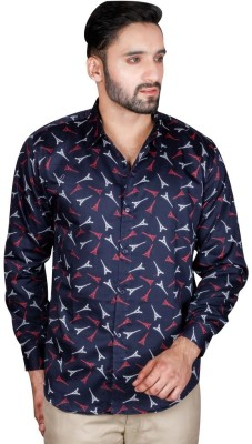 Bag Your Rag Men's Printed Casual Blue Shirt