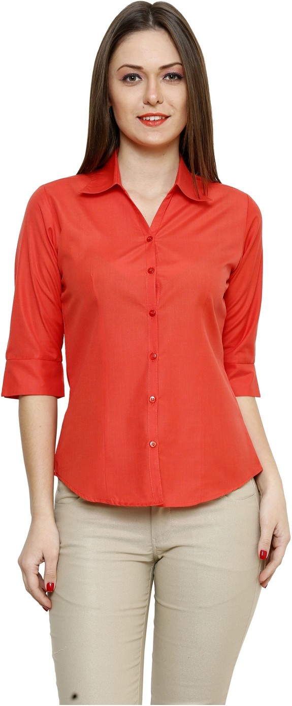 ZX3 Women's Solid Formal Orange Shirt